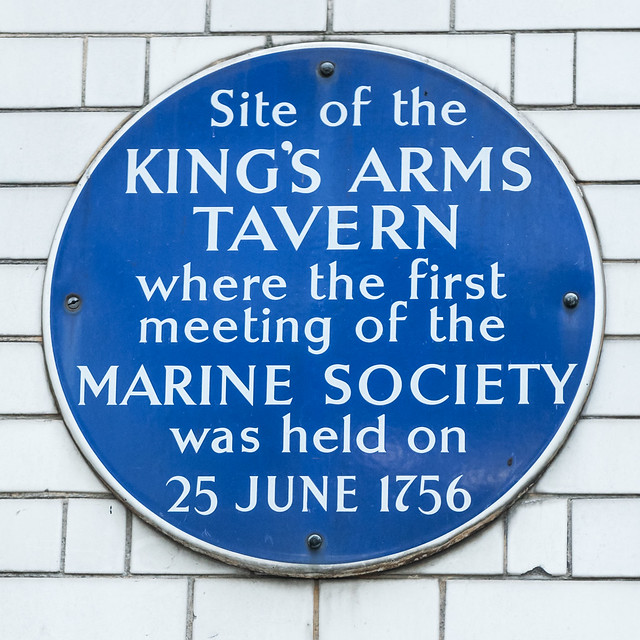Marine Society, King's Arms Tavern, London, and Jonas Hanway blue plaque - Site of the King's Arms Tavern where the first meeting of the Marine Society was held on 25 June 1756