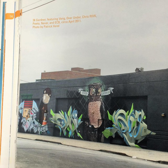 Well hello there. It's @robotswillkill on page 44. Two weeks till Graffiti Murals! #graffiti #streetart #Brooklyn #veng #overunder #chrisrwk #peeta #never See bio for link to info.