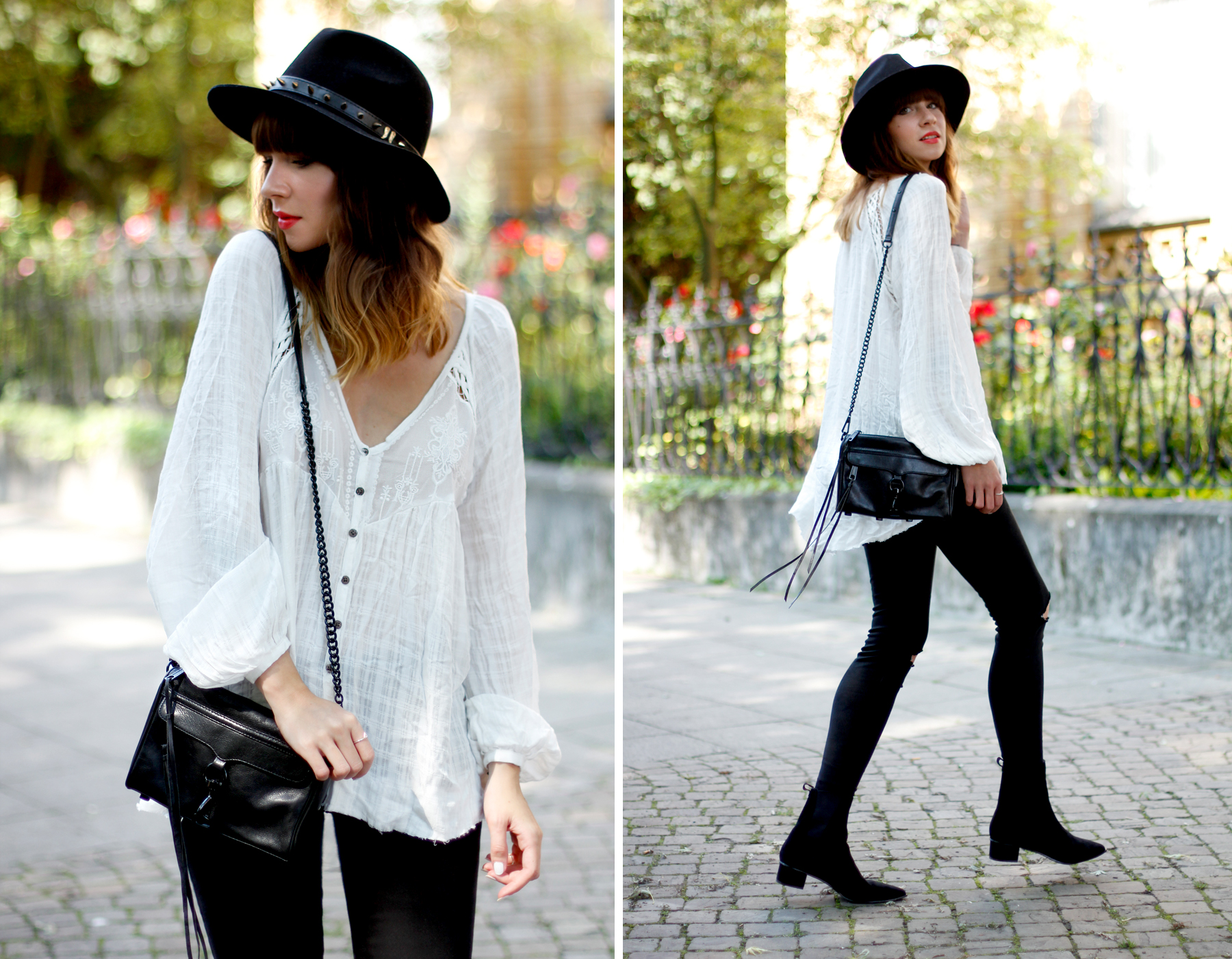 outfit hippie blouse shopbop ash booties berenice hat rebecca minkoff bag autumn fall look black and white cats & dogs fashion blog düsseldorf hannover ootd ricarda schernus blog 5