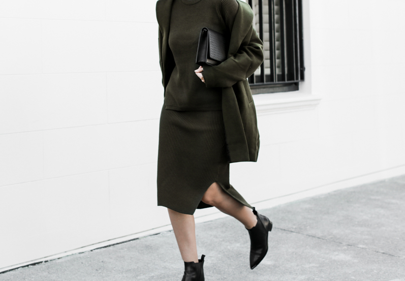 modern legacy, fashion blog, street style, khaki, transseasonal, Bassike, ribbed knit skirt, layers, ASOS coat, Acne Jensen ankle boots (1 of 1)
