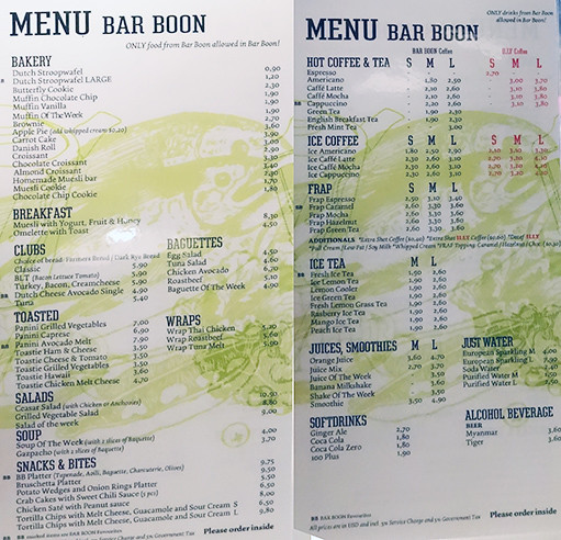 Yangon - Bar Boon Menu