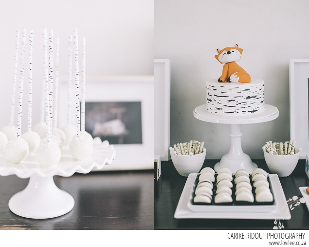 Fox Birthday Party - fox cake and white cake pops
