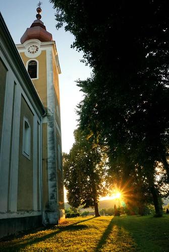 autumn sunset building fall church abbey architecture hungary medieval september baroque benedictine origin templom benedictineabbey bencésapátság kapornak nagykapornak