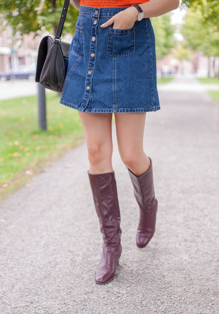 Outfit: button through A-line skirt, vintage knee high boots