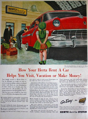 Hertz rental car ad, 1955, featuring Washington DC's Union Station