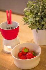 Chocolate and strawberry fondue