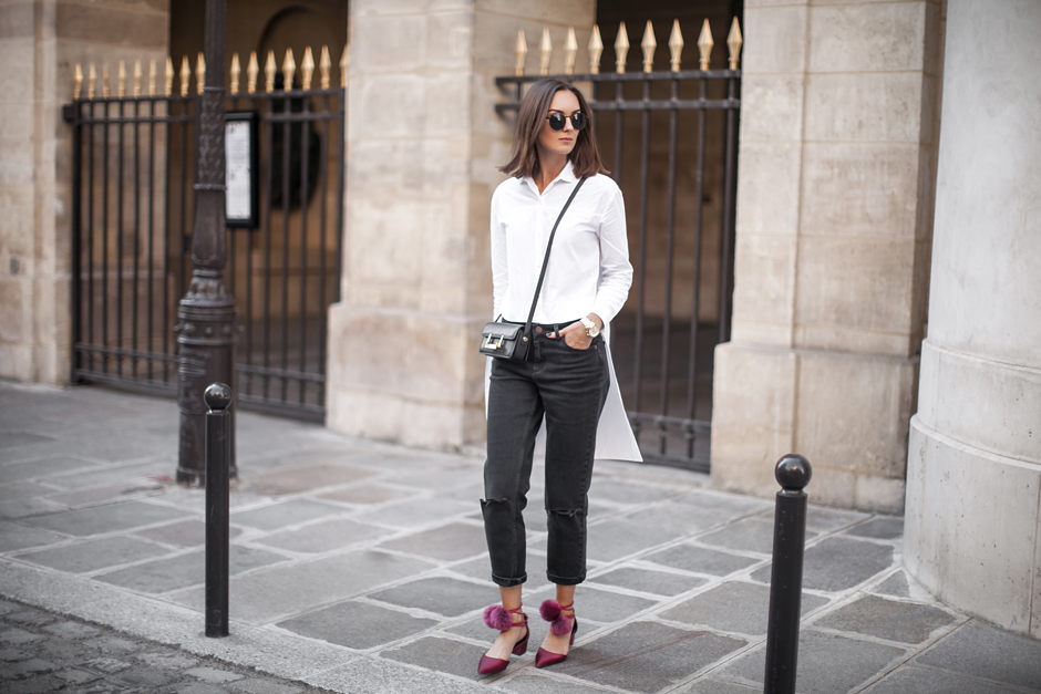 black-and-white-outfits-fuchsia-shoes