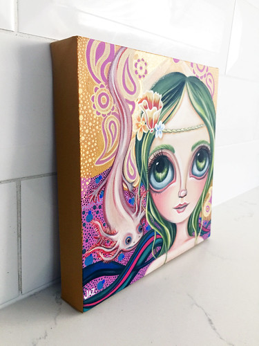 """Princess Axolotl"" Original Painting by Jaz Higgins - Side View"