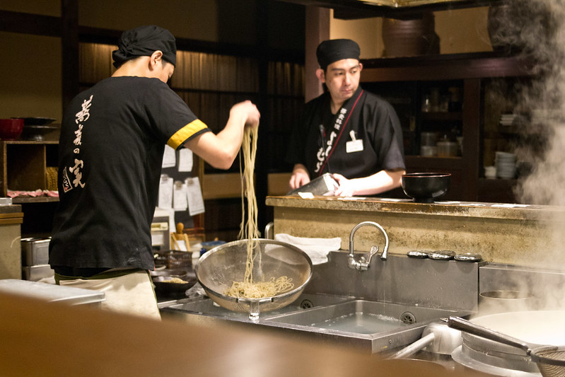 Soba noodles in the making, Kyoto