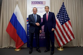 Secretary Kerry Shakes Hands With Russian Foreign Minister Lavrov Before a Meeting in Belgrade