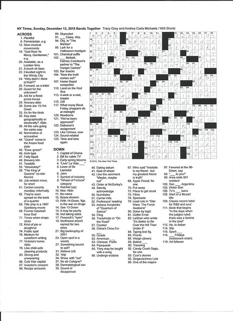 NYT Sunday Puzzle - December 13, 2015