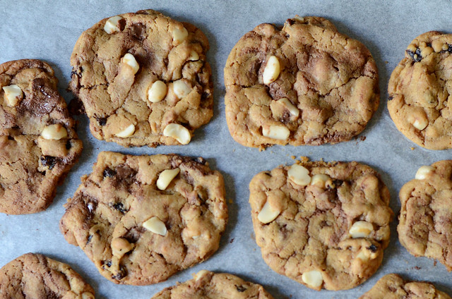 Macadamia, apricot & chocolate cookies
