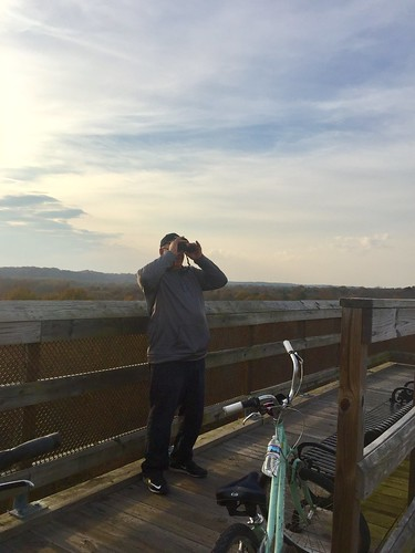 highbridgetrailstatepark binoculars people bike view bridge trail outdoor park water sky cloud birding birdwatching