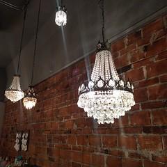 #rustic #brick #chandelier #restaurant