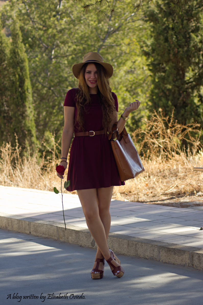 burgundy dress STRADIVARIUS MARYPAZ HEELSANDROSES (2)