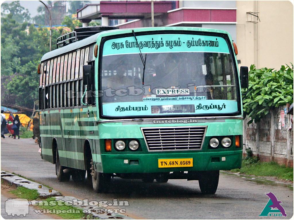 TN-68N-0659 of Chidambaram Depot Route Chidambaram - Tiruppur via Mayiladuthurai, Kumbakonam, Thanjavur, Trichy, Karur.