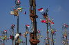 Indonesian men in teams of 4 try to climb to the top of a greased pole called a panjat pinang in order to get to  the prizes tied to the top in Jakarta, Indonesia. Cities and villages across Indonesia celebrated the country's 70th  anniversary of Independ by Q8India