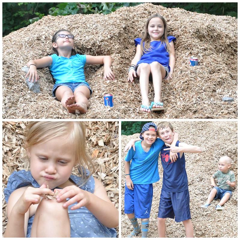 Kids in mulch