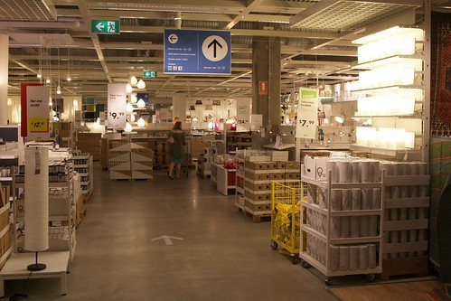 Light fittings and bulbs in the Ikea market hall