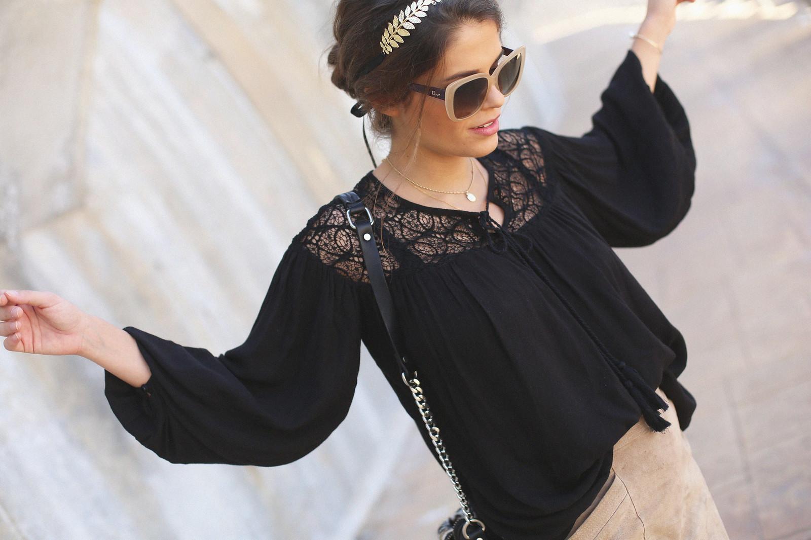 C.black boho top camel suede skirt gladiator sandals golden headband seams for a desire jessie chanes