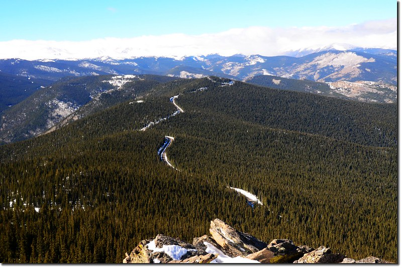 Looking down onto Squaw Pass from the summit of Chief Mountain