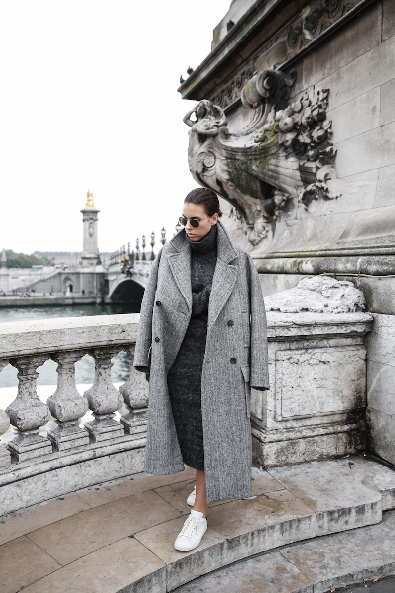 winter essentials, all grey, Paris, street style, comfort dressing, oversized, midi knit dress, Isabel Marant Bart sneakers, MODERN LEGACY x MATCHESFASHION.COM, Raey
