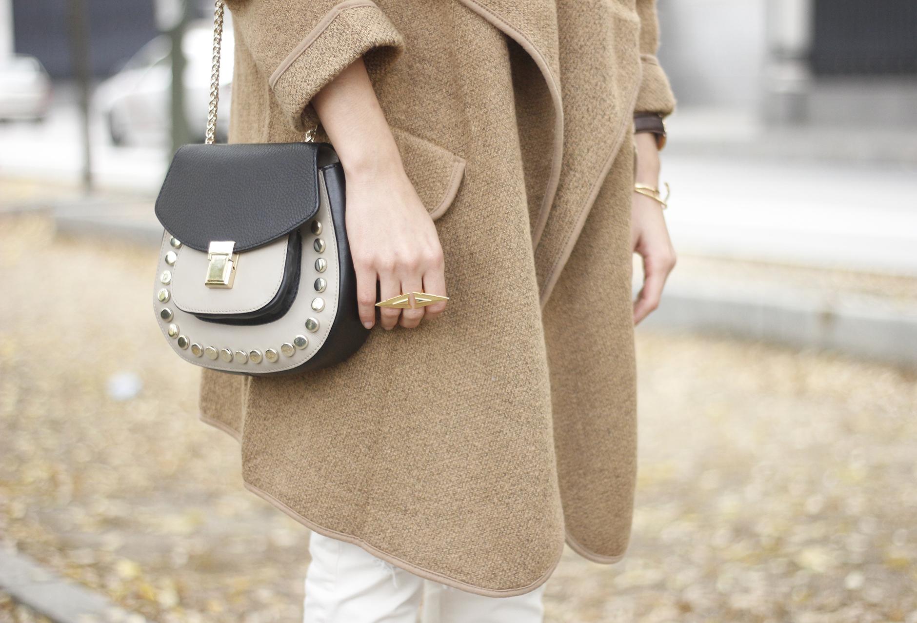 Camel Coat sheinside white outfit heels uterqüe purse outfit10