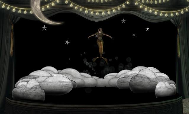 Mermaid leaps into the sky