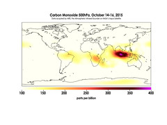 Carbon Monoxide in Mid-Troposphere over Indonesia Fires, October 14-16, 2015