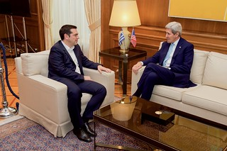 Secretary Kerry Chats WIth Greek Prime Minister Tsipras in Athens