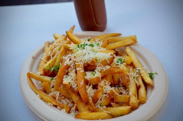 slaw dogs garlic parmesan fries