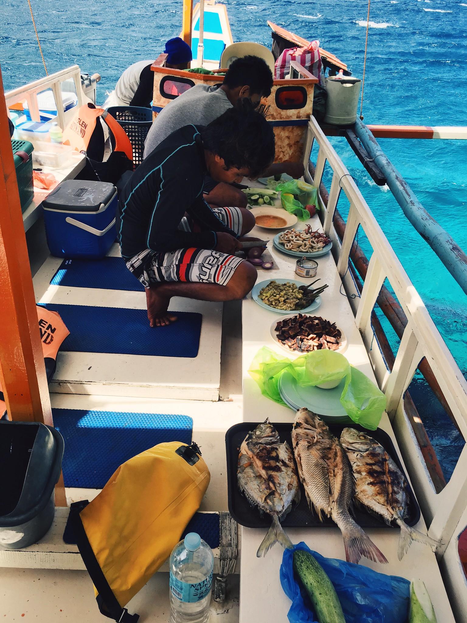 The crew preparing lunch.