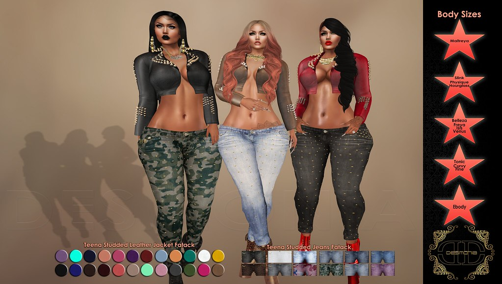 -Desmonia- Teena Studded Jacket & Studded  Jeans Fatpacks - SecondLifeHub.com