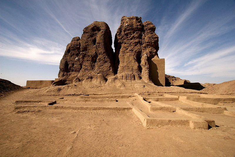 The mud brick temple, known as the Western Deffufa in the ancient city of Kerma