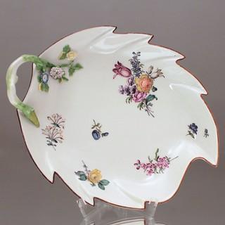 Meissen, Blattschale, Blumen, Manierblumen, Kupferstichblumen, Asthenkel, Schale, Blatt, 1760