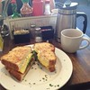 French Press Coffee and Breakfast Sandwich at Café Coda in Chico #frenchpress #coffee #breakfast