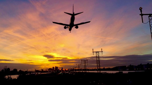 Sunset at London City Airport