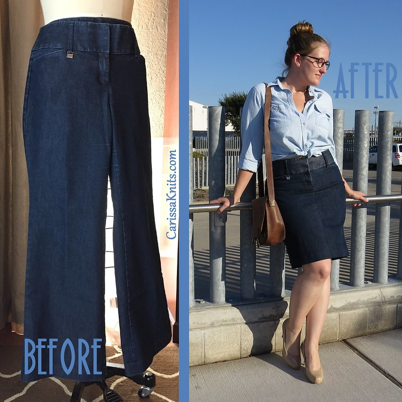 Denim Pencil Skirt - Before & After