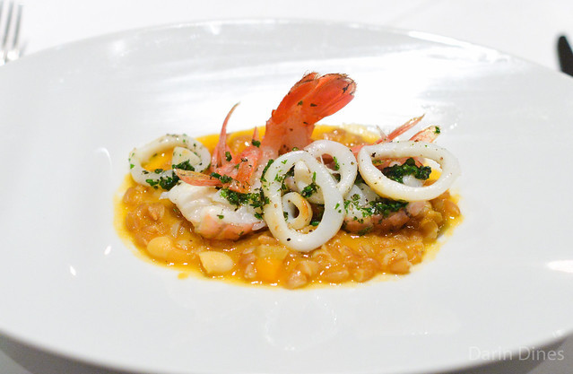 "barley ""minestra"" cannellini, passato, spot prawns and baby squid (vetri)"
