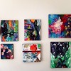 sunshine filled gallery wall. :heart:️ #art #paintings #gallery #gallerywall #intuitiveart #abstract #contemporaryart #foliage #forest #biology #earthmama #earth #layersonlayers #stars #depth #artwork #artistic #acrylic #mixedmedia #collage #colour #magic