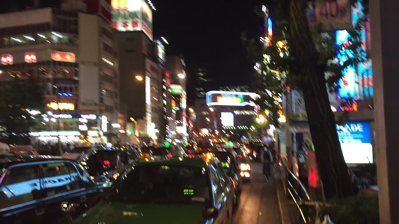 Crossing the street in Shinjuku.
