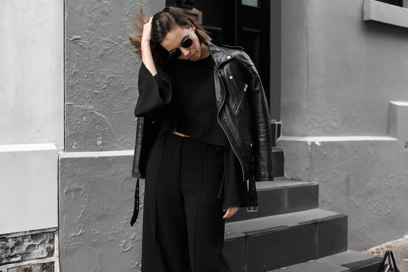 all black, off duty street style, BLK DNM leather biker jacket, Ellery Protege top, Farfetch, fashion blogger, modern legacy