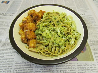 Pesto-Cauliflower Pasta with Breaded Tofu