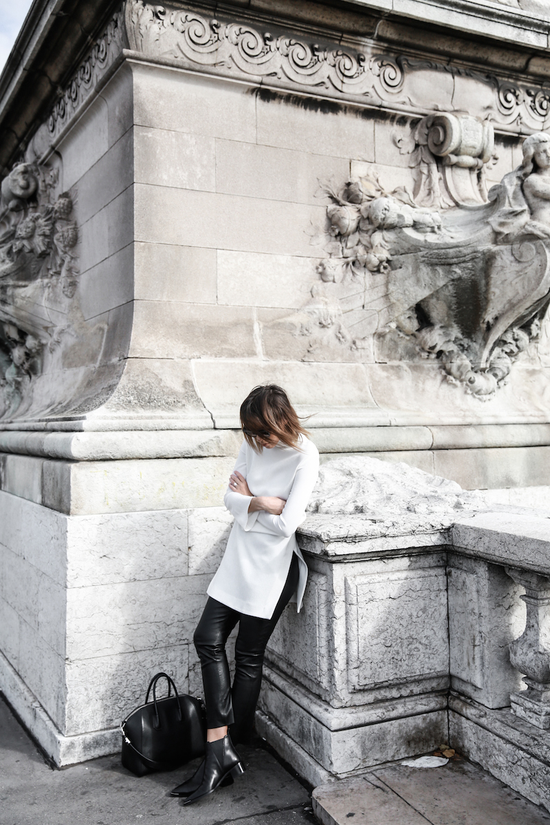 monochrome street style, outfit, inspo, Ellery, Super Creep tunic top, Bassike leather pants, Acne Jensen ankle boots, Givenchy Antigona medium, Céline ombre sunglasses, fashion blog, modern legacy (13 of 13)