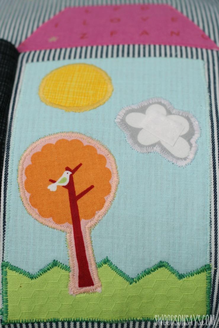 Tree, sun, and cloud applique