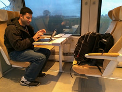 Damien and I traveling through France and Italy by train
