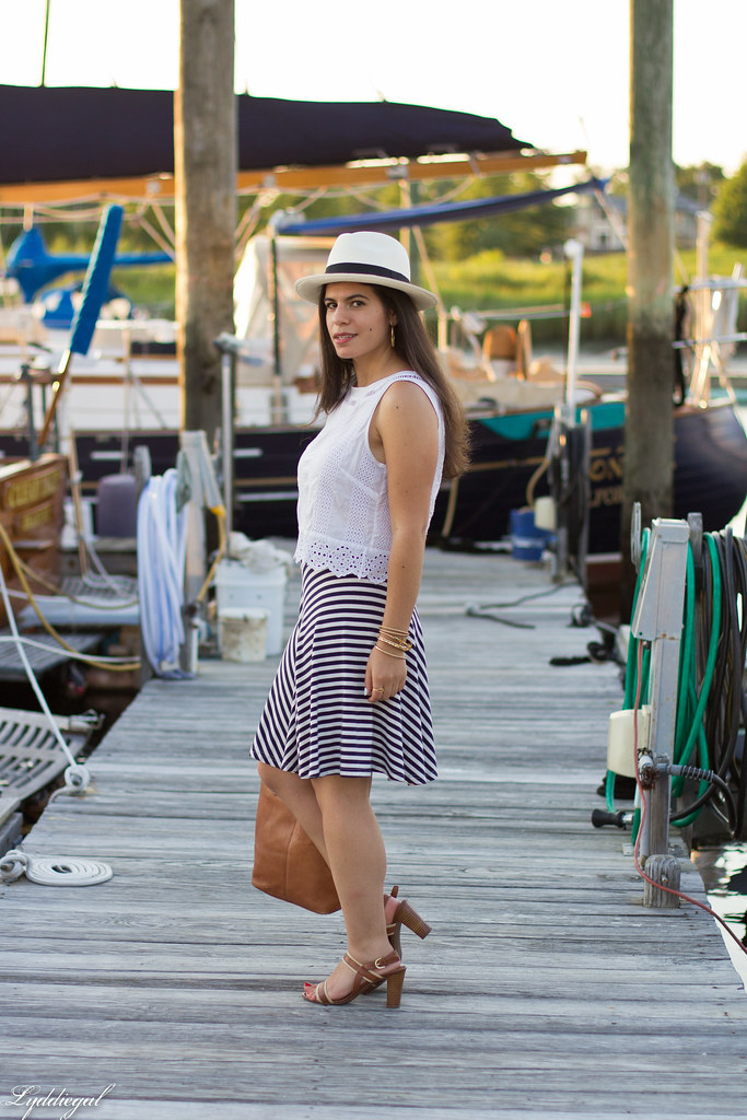white eyelet lace crop top, striped skirt, panama hat.jpg
