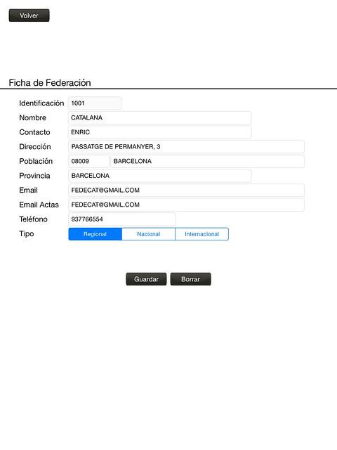 Formulario para rellenar los datos de las federaciones