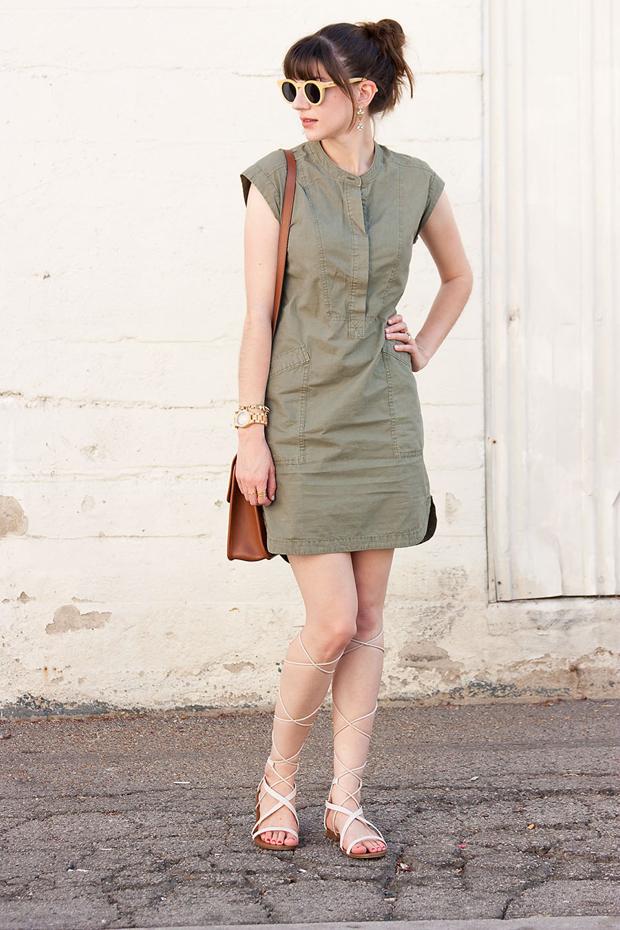 J.Crew Soft Henley Dress, Mango Sandals, Wood Sunglasses