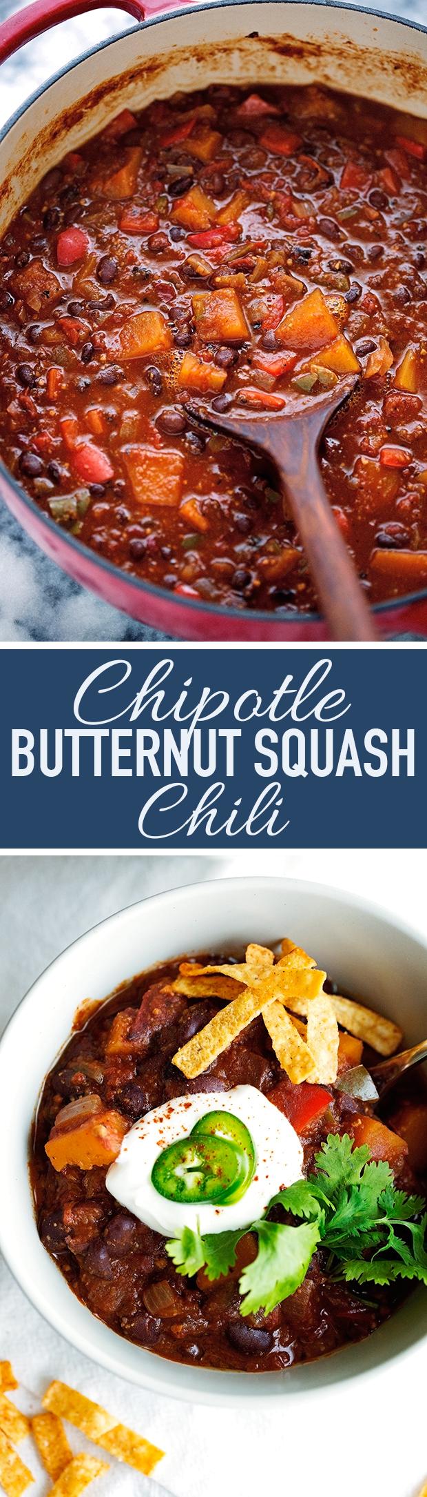 Chipotle Butternut Squash Chili - completely vegan but so hearty and delicious! #veganchili #butternutsquashchili #chipotlechili   littlespicejar.com @littlespicejar